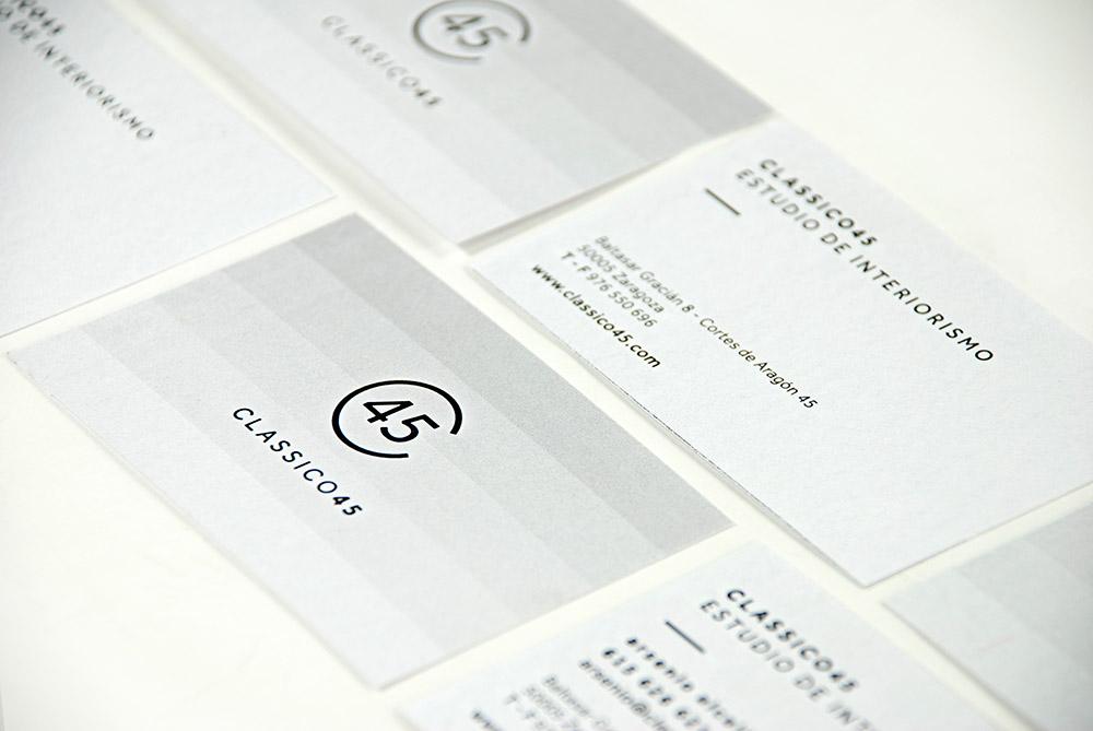 Branding y papelería corporativa para el estudio de interiorismo Classico45 - Branding