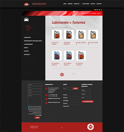 Captura: Sitio web para MT Lubricantes