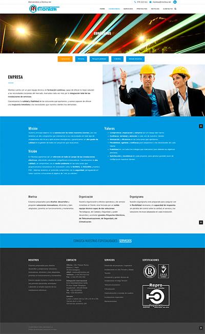 Captura: Sitio web para Montajes Técnico Industriales S.A.