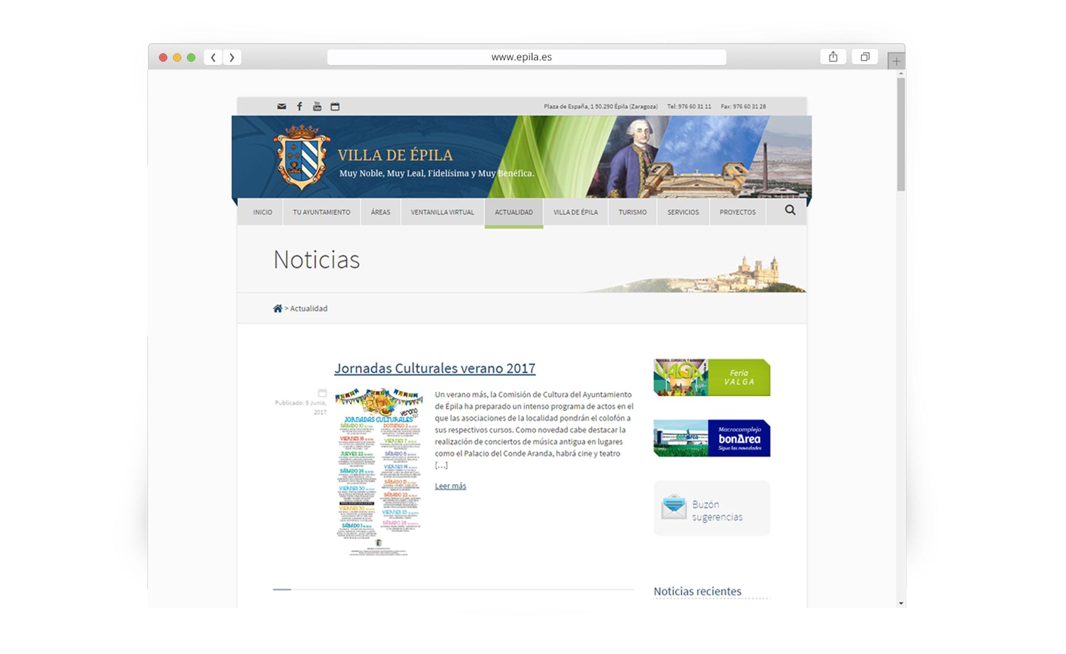 Web y redes sociales Ayuntamiento de Épila - Web