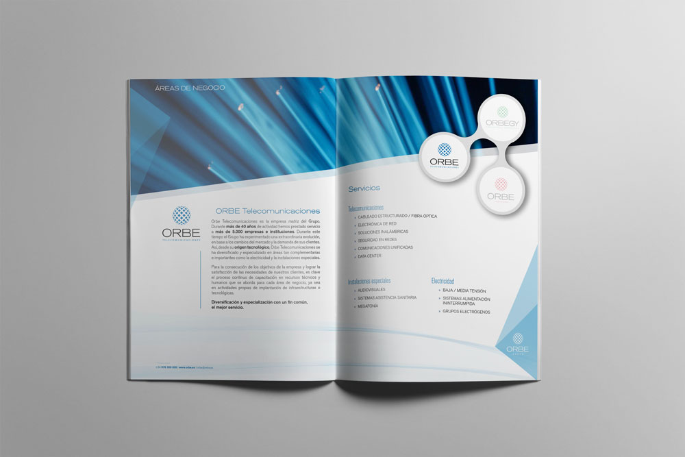 Catálogo de servicios para Orbe - Diseño Editorial