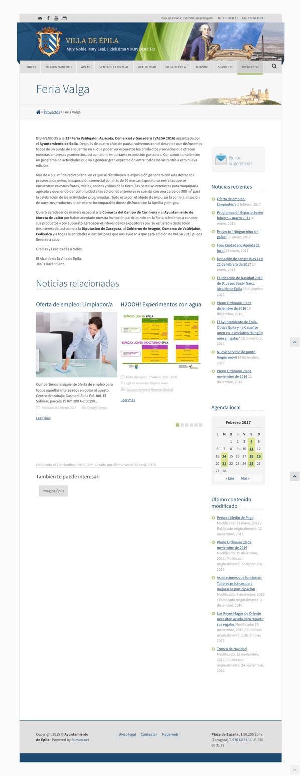 Captura: Web y redes sociales Ayuntamiento de Épila